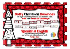 Dotty Christmas Dominoes - 99 High-frequency Spanish Verbs, with 2 level of challenge - Grupo Uno...