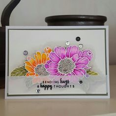 """Altenew """"Spring daisy"""" heat embossed in white on watercolor paper.  Colored w zig clean color markers."""