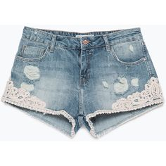 Zara Denim And Crochet Shorts (290 UYU) ❤ liked on Polyvore featuring shorts, bottoms, short, pants, blue, crochet denim shorts, short shorts, blue shorts, blue denim shorts and crochet shorts
