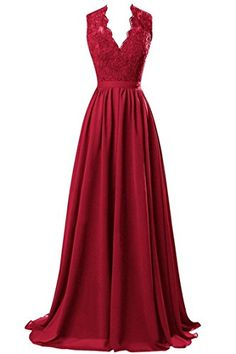 R&J Women's V-neck Open Back Lace Chiffon Floor Length Formal Evening Party Dress Burgundy Size 2 RJ http://www.amazon.com/dp/B014CXC6IO/ref=cm_sw_r_pi_dp_dGnZwb0W3578W