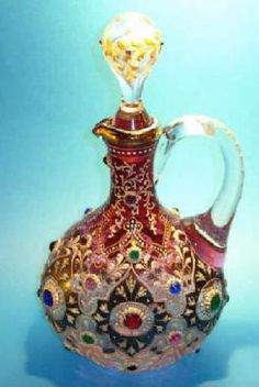 A Moser 'jewelled' cranberry glass claret jug and stopper~swoon~