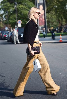Trending Street Style at Spring Summer 2015PFW Fashion Week: High-waisted Pants.