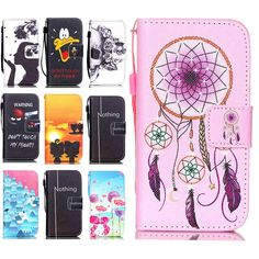 Donald Duck & Flower & Lovers Stand Wallet Card Holder New S4 Mini Cover Vintage Leather Case For Samsung Galaxy S4 Mini i9190