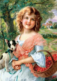 Girl With Cherries ~ Emile Vernon ~ (French 1872-1919)