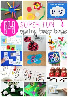 14 Super Fun Spring Busy Bags. Screen-free entertainment when you're on the go. Math games, fine motor projects... loads of stuff!!