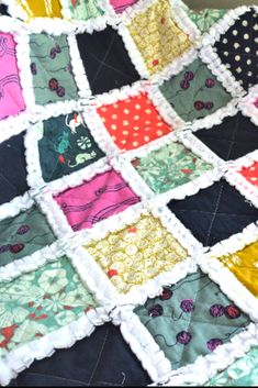 Adorable kitty cat baby rag quilt, in bright pinks navy's and teal. Made from Cat Lady fabric by Sarah Watts for Cotton + Steel and silky soft white minky for Puffy Quilt, Baby Rag Quilts, Cat Quilt, Stroller Blanket, Yarn Ball, Color Pallets, Cat Lady, Bright Pink, Hot Pink