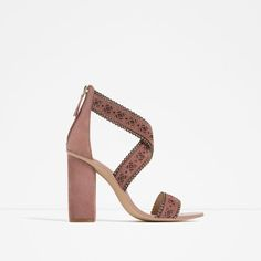 Image 1 of LASER-CUT LEATHER HIGH HEEL SANDALS from Zara