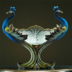 SIMPLY STUNNING Cristal and porcelain - Twin Peacocks Fruit Bowl