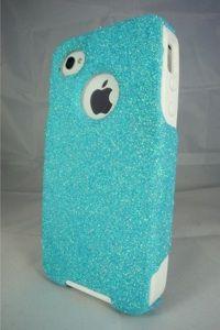 Custom Glitter Otterbox iPhone 4S Frost Blue/White #otterbox #glitter #sparkle