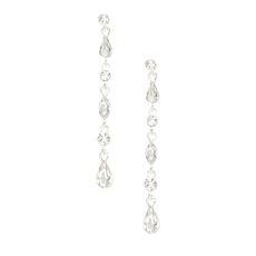 Silver Crystal Teardrop Drop Earrings