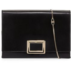 Roger Vivier Soft Calfskin Leather Envelope Clutch Bag ($1,625) ❤ liked on Polyvore featuring bags, handbags, clutches, black, black envelope clutch, chain handle purse, accessories handbags, envelope clutch bag and chain strap purse