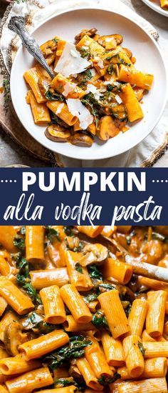 Pumpkin alla Vodka Pasta with golden mushrooms and ribbons of kale tossed in vegan vodka sauce. This healthy weeknight pasta recipe is perfect for easy fall dinners, and sure to become a family favorite. #dinnerrecipes #pumpkinrecipes #pumpkinpasta #vodkasauce Autumn Pasta Recipes, Pasta Dinner Recipes, Fall Dinner Recipes, Easy Pasta Recipes, Fall Recipes, Pumpkin Recipes Healthy Dinner, Pasta Sauce Recipes, Vodka Pasta, Vodka Sauce
