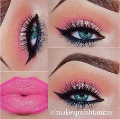 "Pink and orange makeup / eyeshadow / lipstick / lipgloss. ""sunrise"""