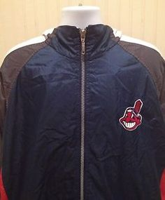 "Beautiful Vintage Retro Cleveland Indians Starter Zipper Jacket.     Length: 35""  Width: 25.5""  Sleeve (Cuff to Neck): 34""  Size: Large  Material: Shell-100% Nylon/Facing-100% Polyester/ Lining-100% Nylon  Made by: Starter   Made in: Korea (Designed in USA)  Condition: Browning at the top left shoulder, Minor tear at bottom of shirt tail near draw string, Minor stains inside the jacket, Minor stains on left arm sleeve, and also minor rip in the lining. Visit http://www.ebay.com/usr/bigthax62"