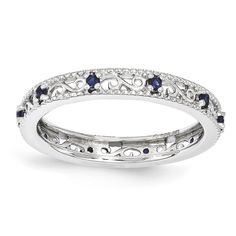 Stackable Expressions Sterling Silver Created Sapphire Ring| Stackable Expresions