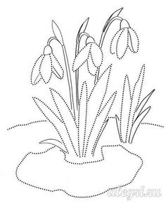 Coloring page - Snowdrops Spring Coloring Pages, Animal Coloring Pages, Coloring Pages For Kids, Quilling Patterns, Card Patterns, Stitch Patterns, Quilting Templates, Quilting Designs, Embroidery Cards