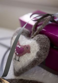 felted heart, sweet gift for someone, cute ornament!