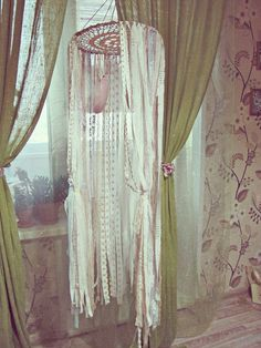 - Made To Order -   Bohemian baby crib canopy  with plenty  of laces stripes and feathers, also goes like #dreamcatcher mobile.  Very boho nursery decor   Available in vario... #handmade #craft #etsy #shopping