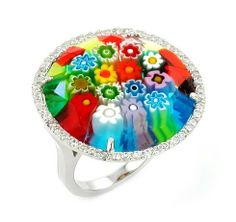 Millefiori Multi Color Faceted Round Ring With Cz Accents Millefiori. $104.16