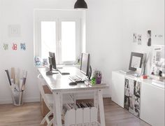 home office, light and white