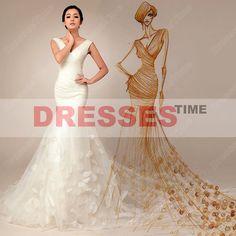 Mermaid bridal gowns - Gorgeous V-neck beach wedding dress / sexy cheap wedding gowns / modern beautiful bridal dress with handmade petals on Etsy, $289.99