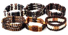 Wholesale Lot Mixed 10pc Wood Beads Stretchy Elastic Bracelet Cuff Wristband New