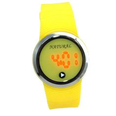 DW418C NATURAL PNP glänzende silberne Uhrgehäuse-LED-Silikon-Gelb-Band-Digitaluhr