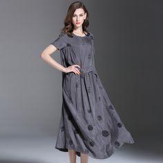 2016 Print Fashion Loose Gray Dress