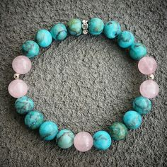 Turquoise howlite & rose quartz natural stone yoga zen healing bracelet available at: bellazenbracelets.etsy.com
