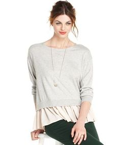 Maison Jules Top, Long-Sleeve Crew-Neck Layered-Look