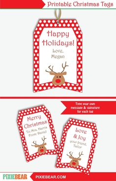 Printable Christmas Gift Tags for Kids - Editable Christmas Teacher Tags, Personalized Christmas Labels, Holiday Tags Template, To From Tags Christmas Gift Tags Printable, Christmas Labels, Christmas Love, Christmas Printables, Party Printables, Christmas Gifts, Handmade Christmas, Cars Birthday Invitations, Party Invitations