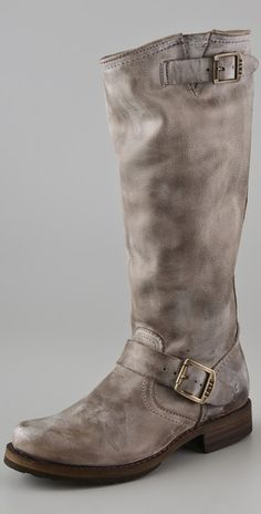 Frye slouch boots in gray.