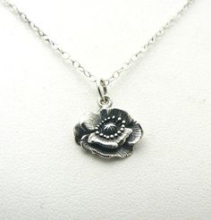 Poppy Flower Sterling Silver Charm Necklace by asilomarworks, $27.00
