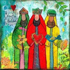 This a sublimated ceramic tile with a print of my original mixed media...  Three Kings (Hacia Belen)   A similar tile of the Nativity Scene is