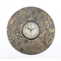 Round Textured Metal Wall Clock - Overstock™ Shopping - The Best Prices on Accent Pieces