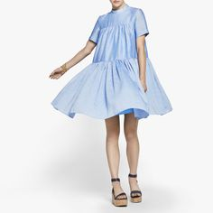 This modern, super-wearable variation on the classic babydoll dress is updated with an of-the-moment mock collar. The all-around pleats sharpen up the full, flowy skirt. - 66% ramie, 34% polyester - D