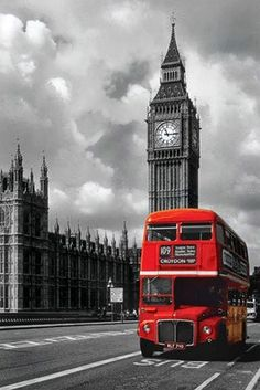 Big Ben, London, England (45 photos): big ben red double decker bus london photography poster