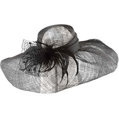 Scala™ Veil and Feathers Sinamay Hat (120 CAD) ❤ liked on Polyvore featuring accessories, hats, feather hat, scala hats, straw hat and church hats