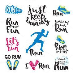 Vector running marathon logo. $5.00