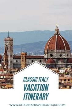 Classic Italy Vacation Itinerary! Plan your vacation to Italy with all the classic stops Florence, Rome, Venice, Naples, and Tuscany are just the start. See where your travels can take you! - Olegana Travel Boutique  #vacationl #italy #travel