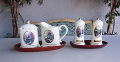 Thomas Kinkade Painter Of Light Set. Includes Sugar Bowl, Creamer, Tray & Spoon Plus Salt & Pepper Shakers With Tray.