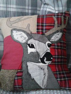Patchwork appliqued Stag Cushion. by PaddyMacDesigns on Etsy