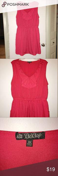 """Adorable plus size dress 3X. Great condition! Bust:52"""" Length:38"""" Punchy coral pink. Flirty folded neckline. Decorative tie at waist. Elastic band stitched into the dress at the waist. Side pockets!!! So cute. I am always open to offers as long as they are reasonable, so don't be shy! BeBop Dresses Midi"""
