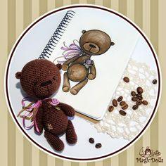 Coffee Teddy Bear материалы: хлопок, микрофибра, атласная лента, холлофайбер, фурнитура. размер: h=14,5cm.