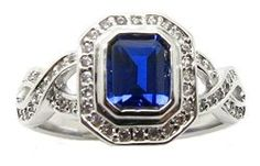 Antique Vintage Simulated Sapphire Blue Engagement Ring