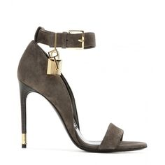 Tom Ford Embellished Suede Sandals (£780) ❤ liked on Polyvore featuring shoes, sandals, taupe shoes, tom ford, taupe sandals, suede leather shoes и suede shoes
