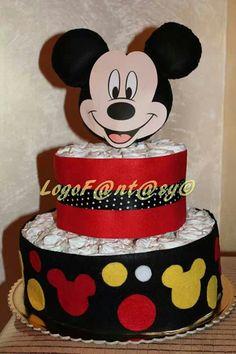 Mickey mouse diaper cake - torta di pannolini topolino