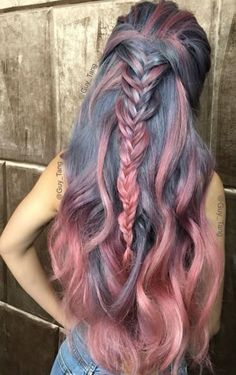 crazy hair color, Grayish Blue & Rose Pink Hair with Fishtail Braid Rose Pink Hair, Pastel Hair, Ombre Hair, Blonde Hair, Brunette Hair, Pastel Pink, Pink Grey Hair, Pink Blue, Blonde Streaks
