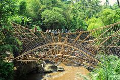 Bamboo bridge in the jungle 23 meters long, the Millennium Bridge in Sibang Kaja is one of the largest bamboo bridges in Asia. It's shown here under construction — sitting on top of the roof is no longer an option. Photo courtesy of Green School. Bamboo Building, Millennium Bridge, Bamboo Structure, Public Space Design, Bamboo Construction, Bamboo Architecture, Green School, Bamboo Art, Arch Bridge