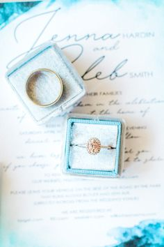 Pink stone engagement ring in a blue velvet Mrs. Box, and blue watercolor wedding invitation.  Romantic blush backyard Arizona garden wedding by Pinkerton Photography, Arizona Wedding Photographer.